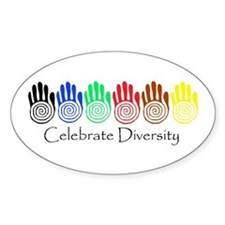 Celebrate Diversity Rainbow Hands Oval Decal