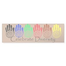 Celebrate Diversity Rainbow Hands Bumper Sticker
