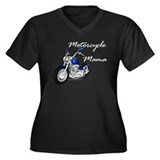 Motorcycle Mama Women's Plus Size V-Neck Dark T-Sh