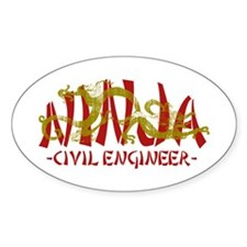 Dragon Ninja Civil Engineer Oval Decal
