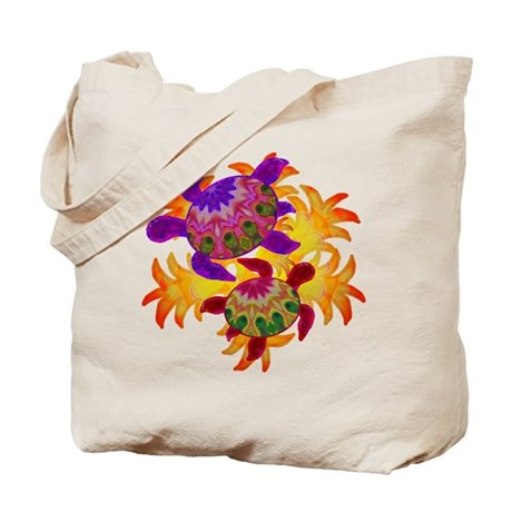 Flaming Turtles Tote Bag