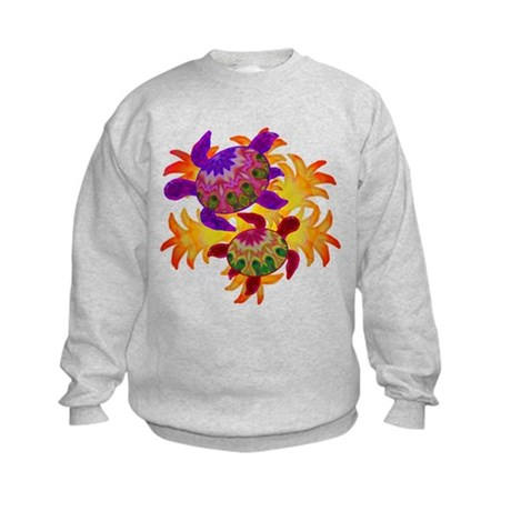 Flaming Turtles Kids Sweatshirt