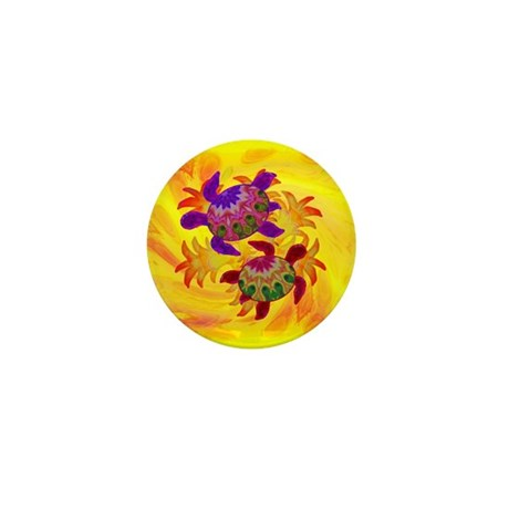 Flaming Turtles Mini Button (10 pack)