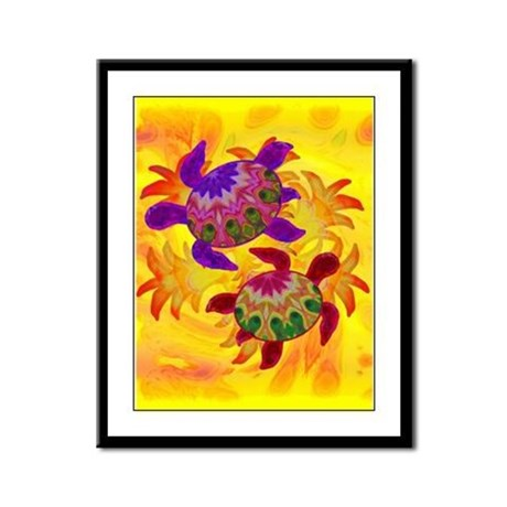 Flaming Turtles Framed Panel Print