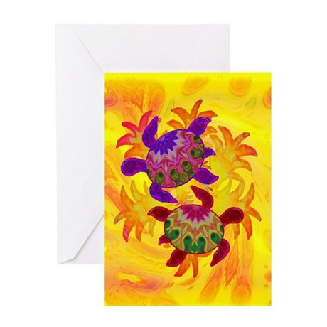 Flaming Turtles Greeting Card