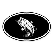 Bass fishing negative Oval Decal