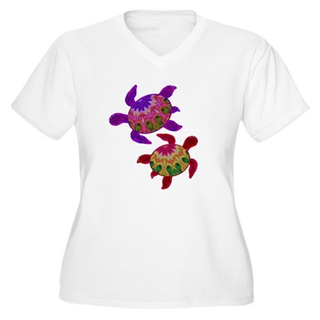 Painted Turtles Women's Plus Size V-Neck T-Shirt