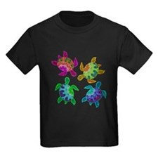 Multi Painted Turtles Kids Dark T-Shirt
