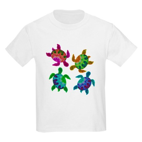 Multi Painted Turtles Kids Light T-Shirt