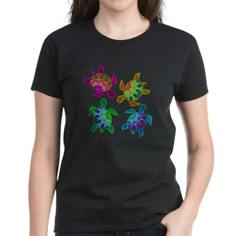 Multi Painted Turtles Women's Dark T-Shirt