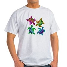 Multi Painted Turtles Light T-Shirt