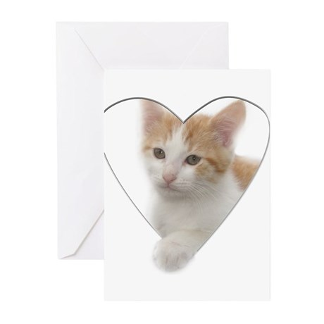Kitten Heart Greeting Cards (Pk of 10)