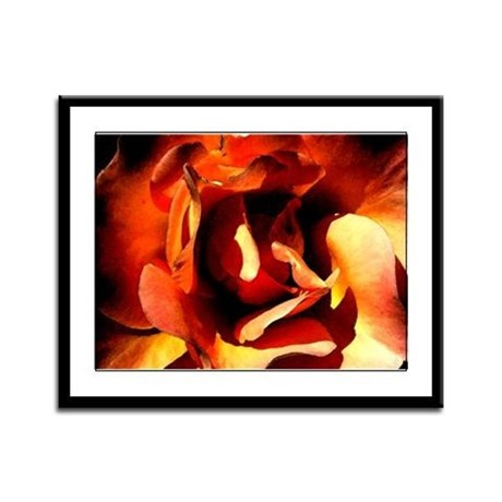 Painted Rose Framed Panel Print
