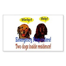 Two Dog Alert Rectangle Decal