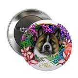 Akita Brindle Garden Flowers Button