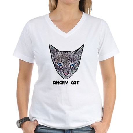 Angry Cat Women's V-Neck T-Shirt