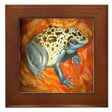 Blue Dart Frog Framed Tile
