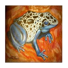 Blue Dart Frog Tile Coaster