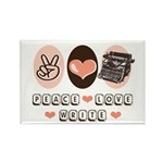 Peace Love Write Writer Rectangle Magnet