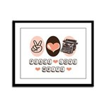 Peace Love Write Writer Framed Panel Print