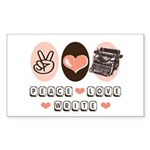 Peace Love Write Writer Rectangle Sticker
