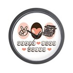 Peace Love Write Writer Wall Clock