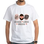 Peace Love Write Writer White T-Shirt