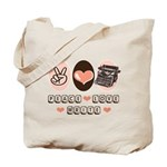Peace Love Write Writer Tote Bag