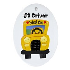 School Bus Driver Oval Ornament