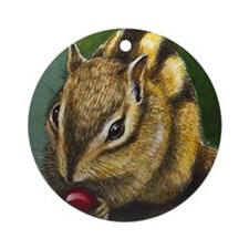 Chipmunk Christmas Ornament (Round)