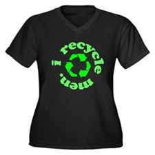 I Recycle Men Women's Plus Size V-Neck Dark T-Shir