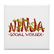 Dragon Ninja Social Worker Tile Coaster