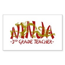 Dragon Ninja 3rd Grade Tcher Rectangle Decal