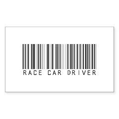 Race Car Driver Barcode Rectangle Sticker