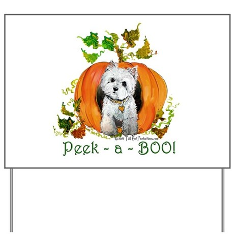 Autumn Pumpkin Westie Yard Sign