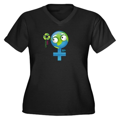 Green Girl Women's Plus Size V-Neck Dark T-Shirt