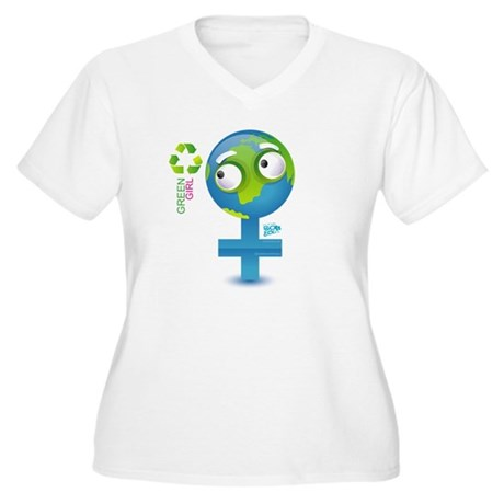 Green Girl Women's Plus Size V-Neck T-Shirt