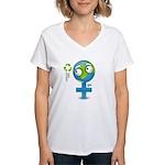 Green Girl Women's V-Neck T-Shirt