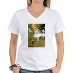 Dancers / Cocker (brn) Women's V-Neck T-Shirt