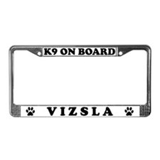K9 On Board Vizsla License Plate Frame