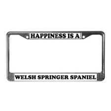 Happiness Welsh Spring Spaniel License Plate Frame