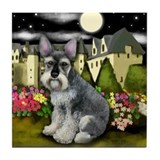 SCHNAUZER DOG MOON CASTLE Tile Coaster