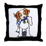 Playful Brittany Spaniel Throw Pillow
