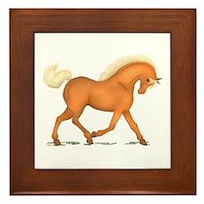 Bright Gold Palomino Horse Framed Tile