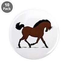 "Dark Bay Horse Pony 3.5"" Button (10 pack)"