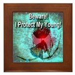 Beware! I Protect My Young! Framed Tile