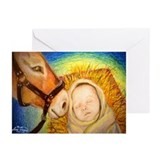 Donkey nudges Baby Jesus Greeting Cards (Pk of 10)