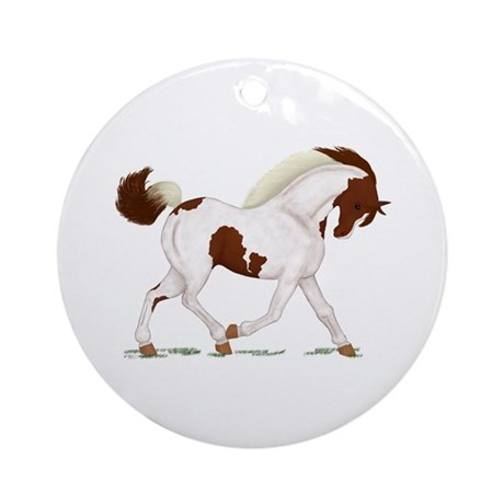 Chestnut Skewbald Horse Ornament (Round)