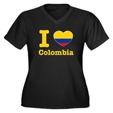 I love Colombia Women's Plus Size V-Neck Dark T-Sh