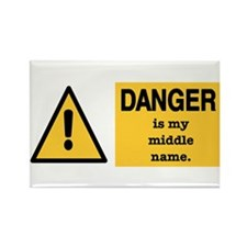 Danger is my middle name Rectangle Magnet (10 pack